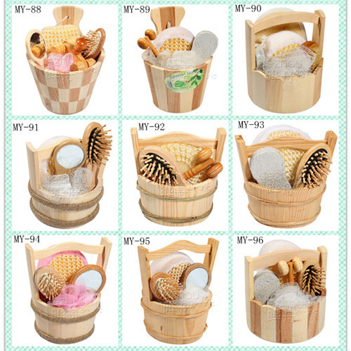 2015 hottest natural wooden bucket bath and body gift set