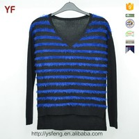 Short Front And Long Back V Neck Striped Sweater For Women 2015