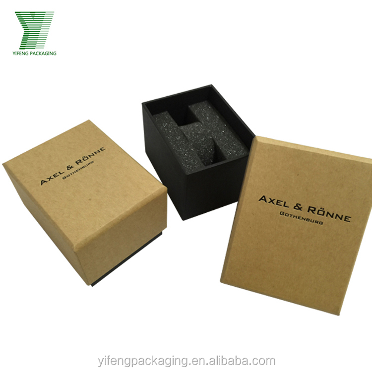Custom Luxury Black Kraft Paper Watch Box with Spong