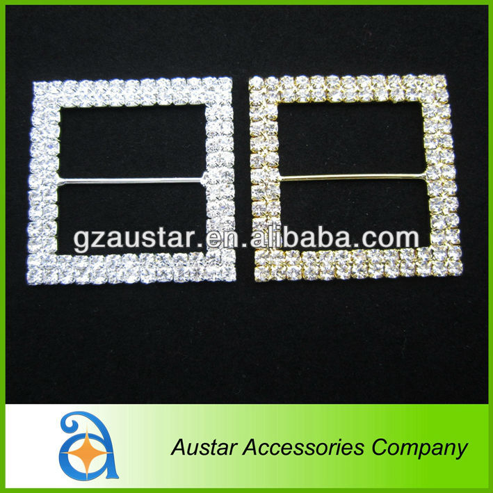 Fashion silver and gold 46mm double rows square rhinestone buckle sliders,western rhinestone belt buckles for women