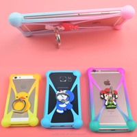 Universal Silicone Phone Case 3D Cartoon Cute Frame Bumper LED for oneplus 5/3 for tecno Y2/I8/W3 Phone Cover With Ring