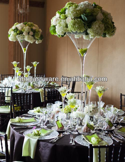 Wholesale Different Types Hand Made Long Stem Martini Glass Vase