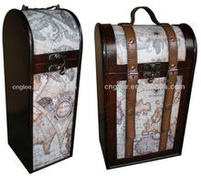 With Navigation Map Design Decorative Single Leather Wine Box