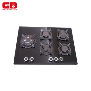 Tempered glass 5 Burners Gas Stove With Built-in