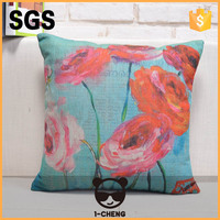 Hand embroidery flower design cushion cover