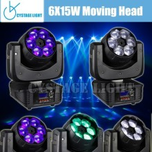 6X15W 4-in-1 Led Mini Beam Wash Moving Head