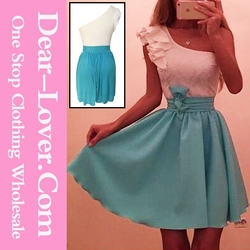 Sexy Free One Shoulder Blue Chiffon Japanese Prom Party Dress School Girls Sex Photo