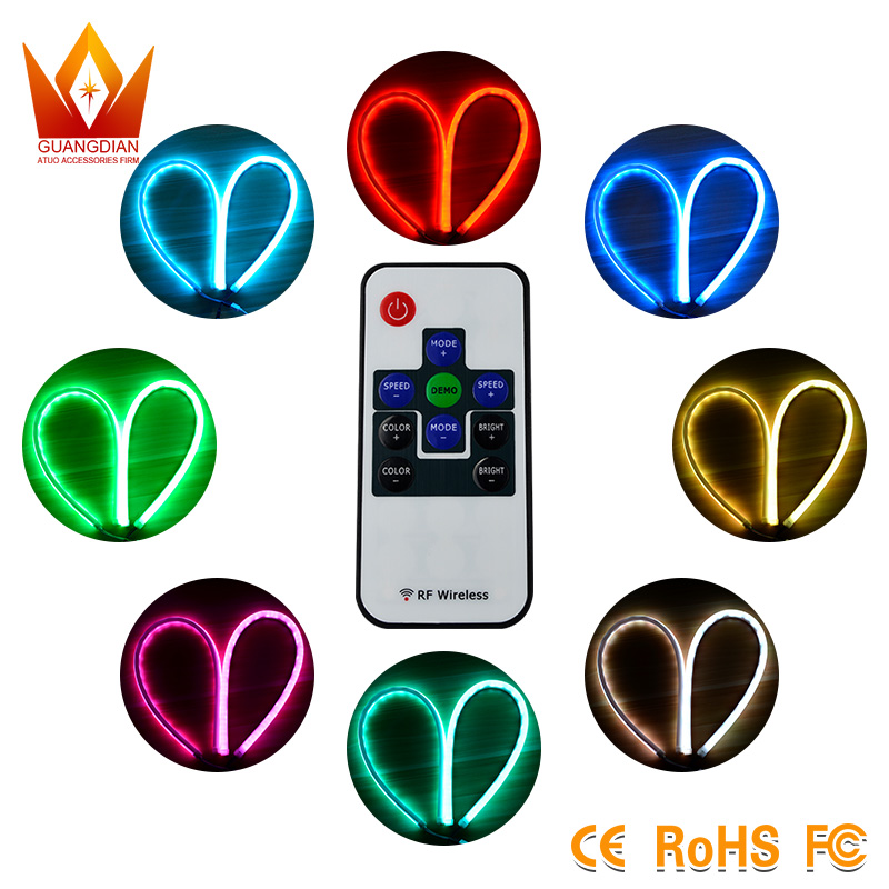 Guangdian super bright high power 60cm flexible RGB LED DRL car neon light with flow pattern for universal car