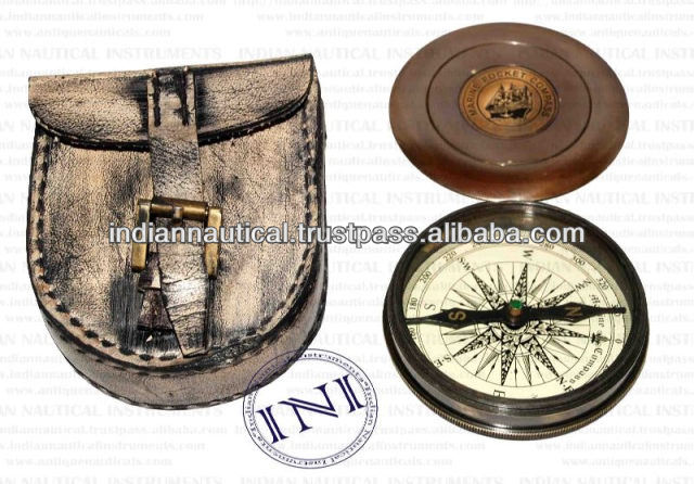Brass compass in Leather case, magnetic compass, Brass magnetic compass
