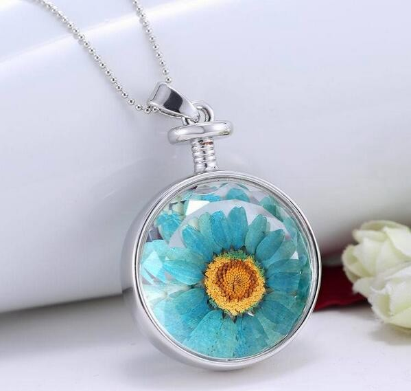 Fashion Round Plain Dried Flower Glass Bottle Necklace Charms Pendant Necklace
