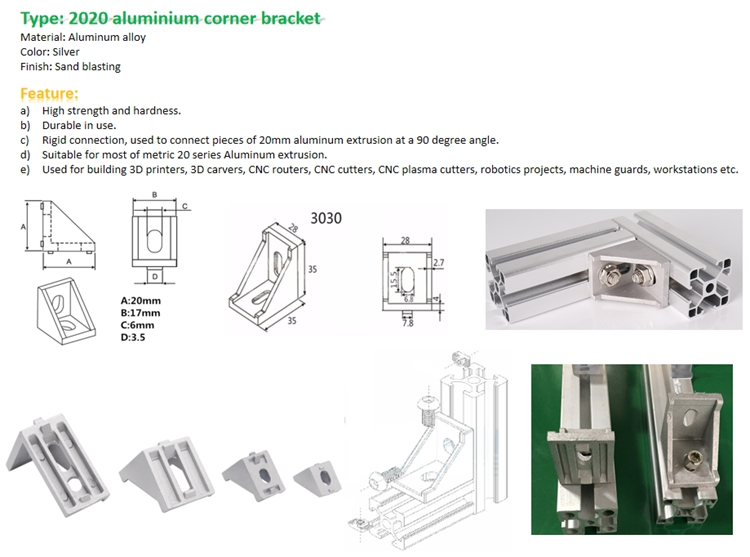 L shaped right angle bracket for 2020 3030 4040 4545 aluminum profile connector
