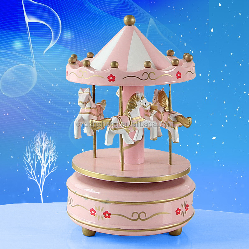 Merry-go-round music box wood crafts for gift