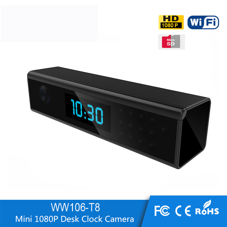 2017 Fresh design IR Night vision 1080p WIFI IP wireless Table alarm hidden clock camera