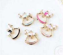 drops of oil cute nice Horse Gold Tone Metal Pendant Charms for DIY Bracelet Necklace jewelry animal DIY accessories