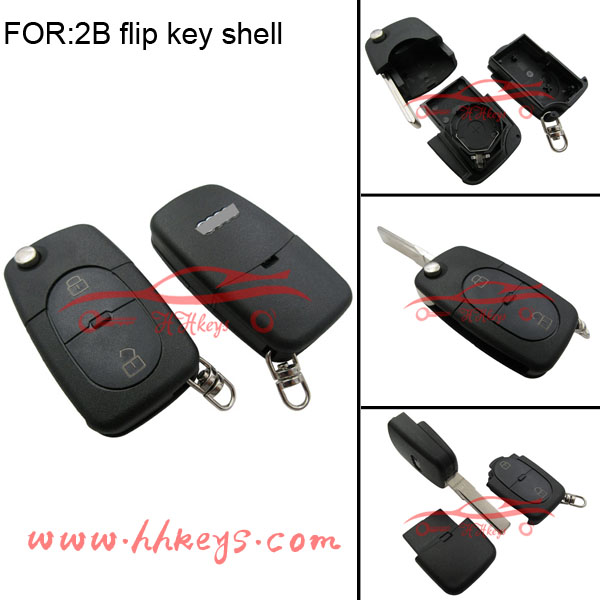Wholesale universal car key blanks Audi 2 buttons flip key shell with 2032 battery holder