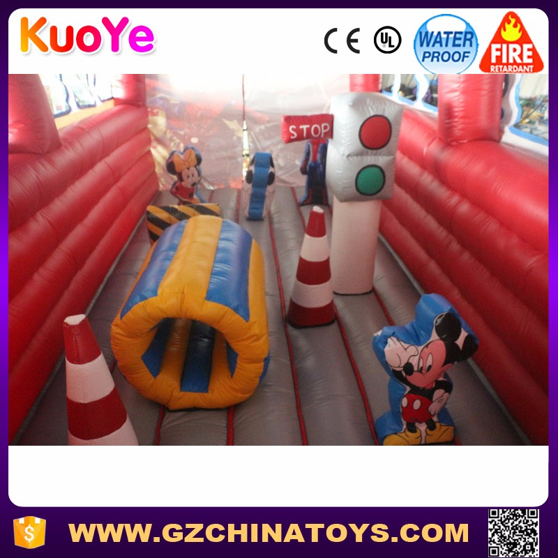 School bus theme inflatable used commercial bounce houses for sale