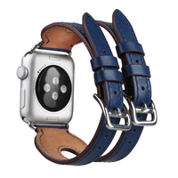 Double Buckle Cuff Strap Genuine Leather Watch Bands For Apple Watch 1/series 2