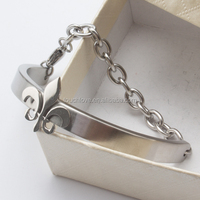 925 silver chain cuff bracelet wiht anchor charms
