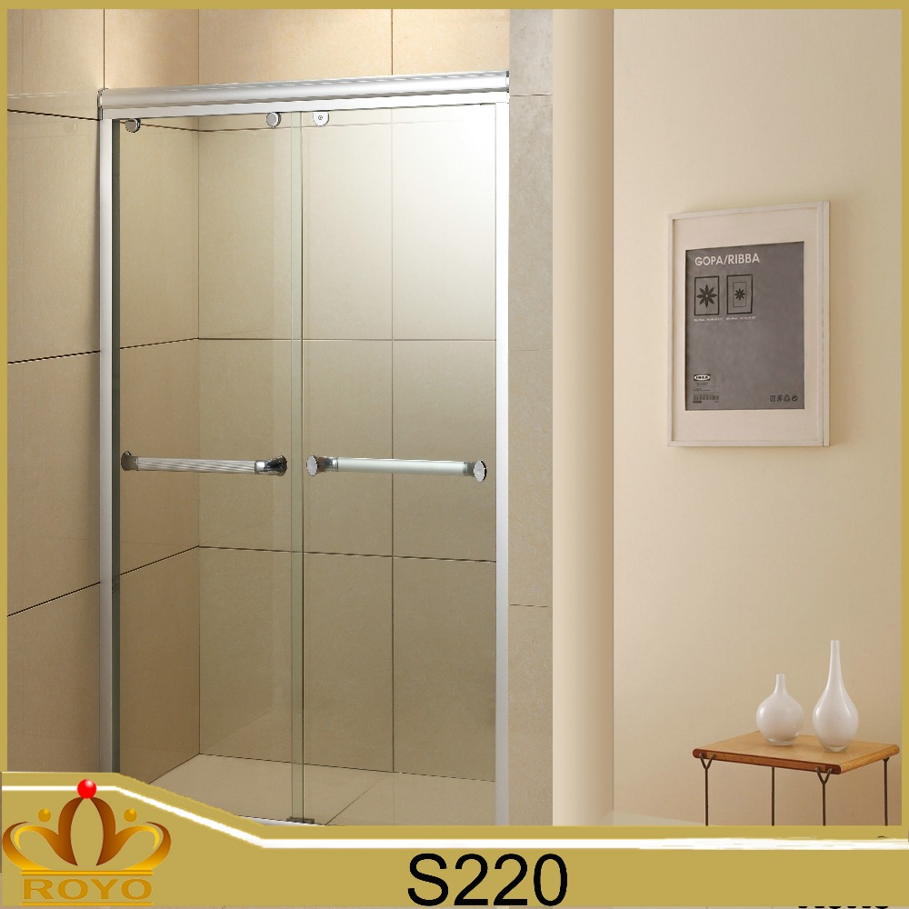 easy sale double glass sliding shower door with roller S220