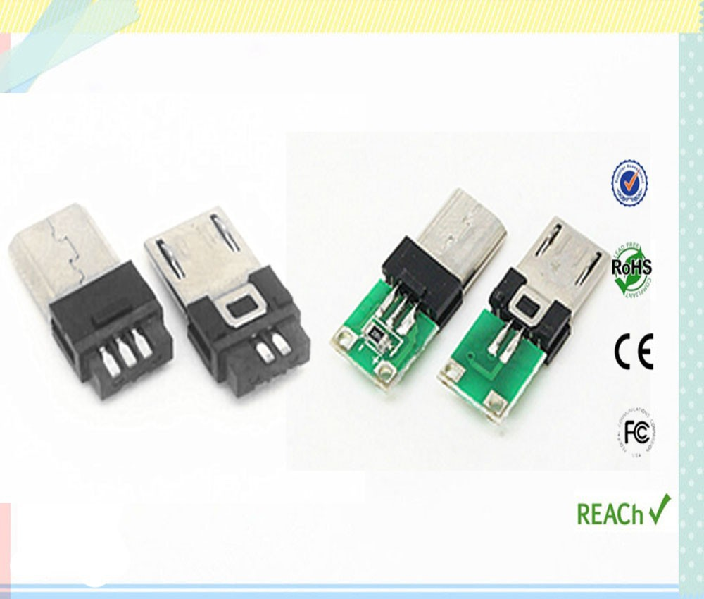 PCB application and data charger micro usb 5 pin male connector