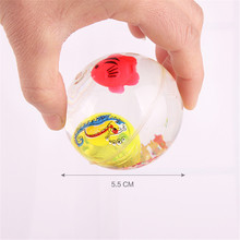 New Arrival 55mm Flashing LED Light Kids Elastic Jump Crystal Ball Toy With Fish