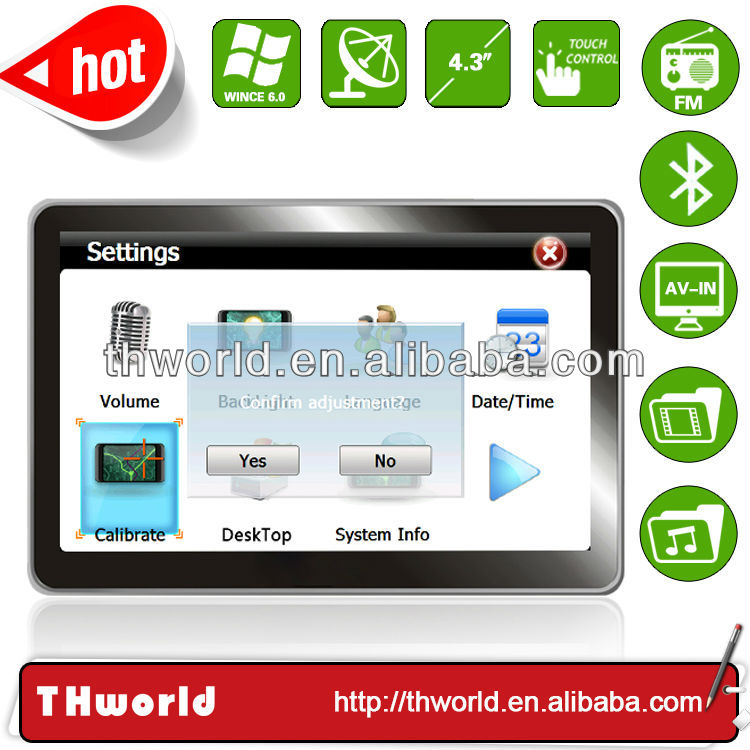 4.3 inch car gps navigation model no.V12 with bluetooth AV-IN 4GB only $32.00/PC