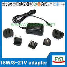 Interchangeable plug AC DC adaptor 18W 12V 1.5A power adapter supply 1500mA 12V AC adaptor with EU US UK AU