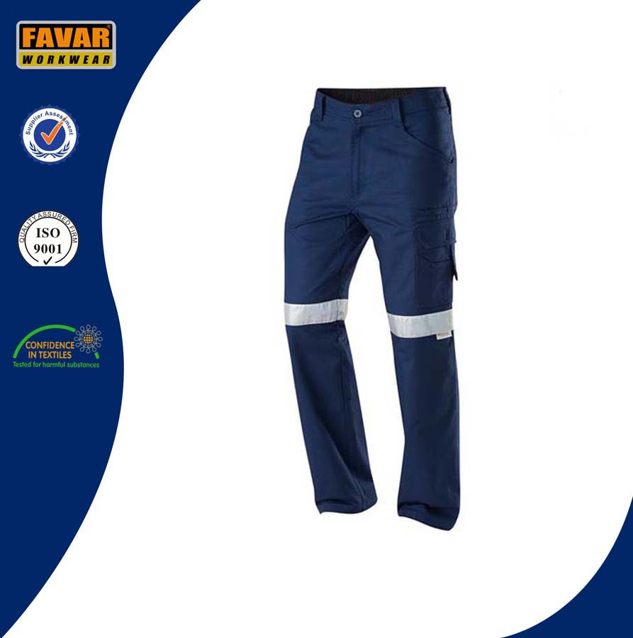 New design working trousers/ navy blue cargo pants with reflective tape