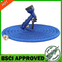 Quality Source Products Expanding Expandable garden Hose 100 Feet solid brass end blue