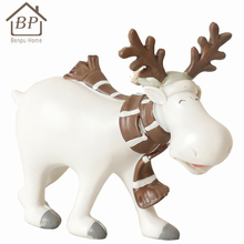 Hot sales beautiful white resin deer statue with antlers for home decor