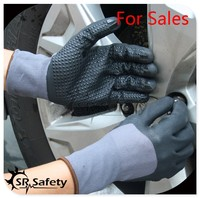 SRSAFETY best price 15 gauge gloves coated nitrile dots for working gloves