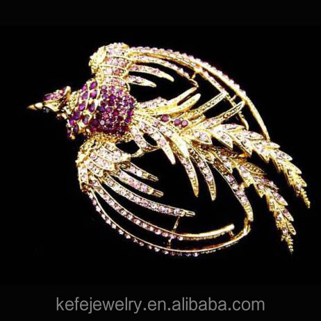 Swallow Bird Phoenix Purple Austrian Rhinestone Crystal Gold Tone Pin Brooch