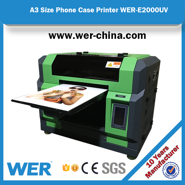 CE approved WER-E2000 A3 UV printer,silicone phone case printer