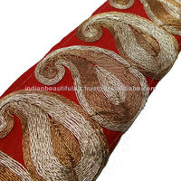 RED BASE FABRIC TRIM ACRYLIC THREAD PAISLEY STYLE BORDER SARI LACE CRAFT