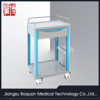 multi-function one drawer plastic-steel columns with a dust basket ABS medicine trolley