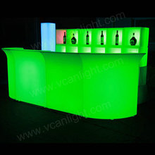 led light illuminated long bar table for wedding party