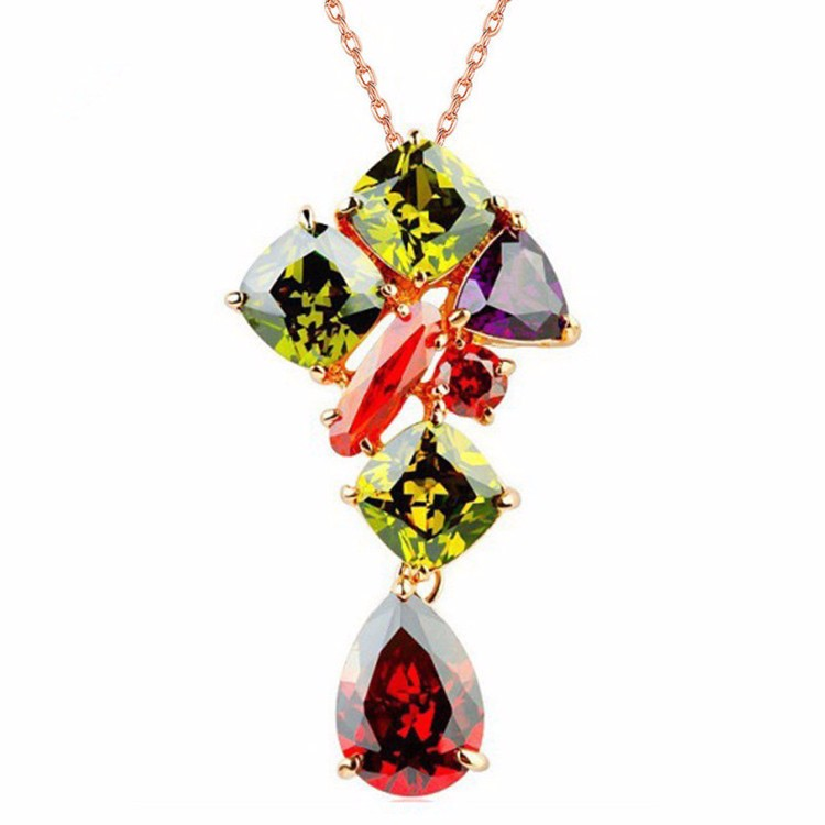 Colorful AAA zircon pendant latest designs long chain 18k gold fancy stone necklace