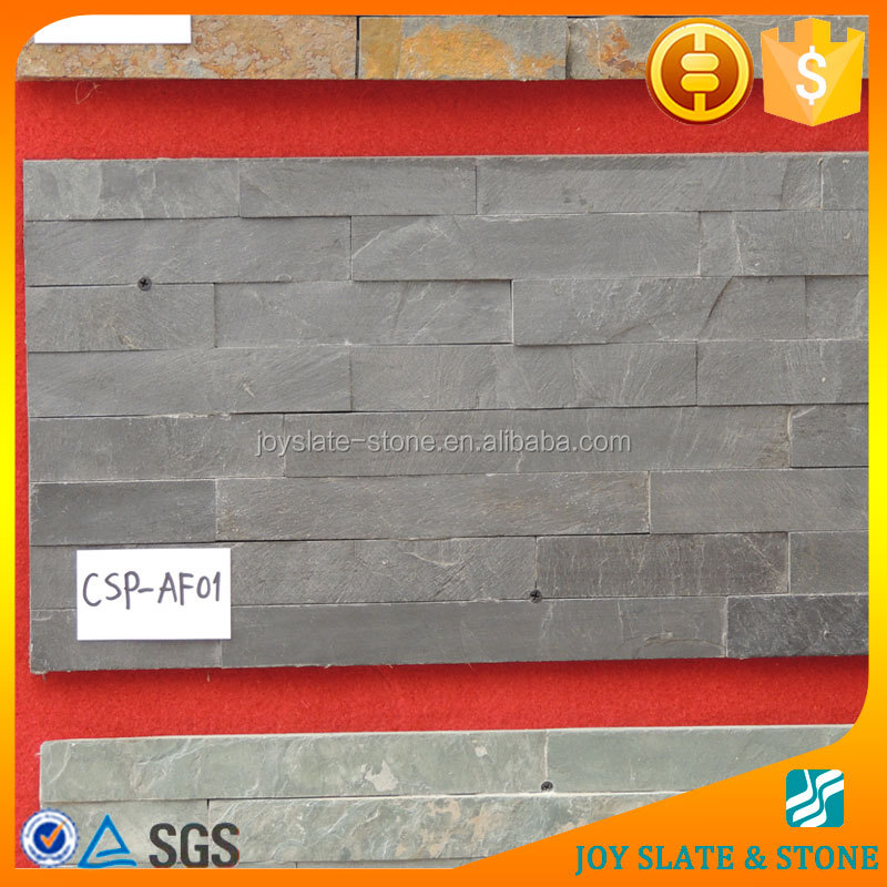 Natural high quality 60x15cm black slate culture stone for interior and exterior decoration.