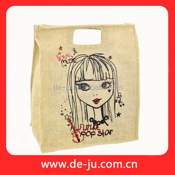 Colorful Printed Shopping Bag Jute Bag Promotion Burlap Tote Bag