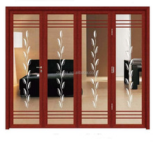 Fireproof lowes glass interior folding doors for high grade hotel/home