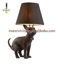 Fahion Black Dog Shaped Resin Table Lamp for Indoor Home Decoration
