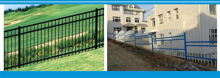 high quality powder coated flat top steel fence