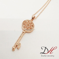 Hollow Fashion dainty Zircon Key Flower Women Pendent Charm Necklace