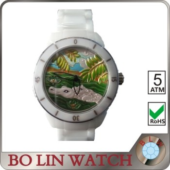 ladies watches/ceramic&stainless steel/beautiful relief face/japan movement/3 ATM/sapphire glass, wholesale ceramic watch