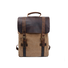 1BP0615 Fashion Unisex Vintage Canvas PU Leather Travel 15.6 Laptop USA Popular Backpack Manufacturers For School Girl Students