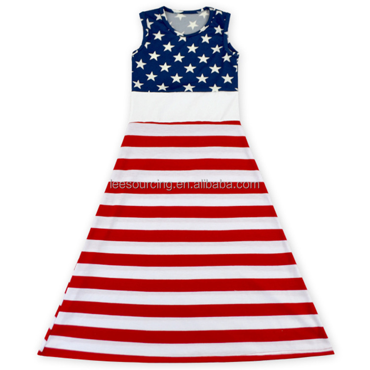 2016 Summer floor length blue star & stripped red white patriotic baby girl dress kids clothes girls dresses of US 4th July