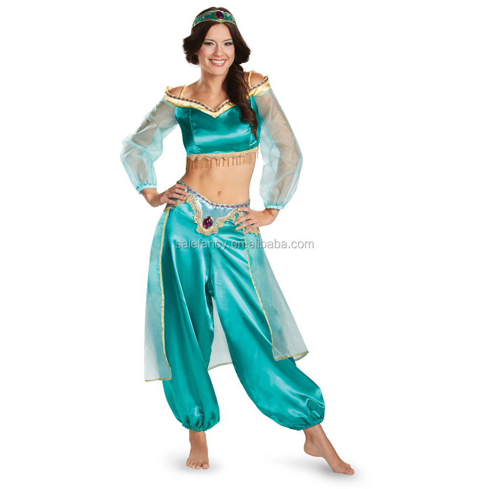 Jasmine Sassy Prestige Princess Aladdin Halloween Fancy Dress Costumes QAWC-3354