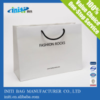 customized promotional paper shopping bag/ logo design white paper shopping bag/ custom made paper shopping bag printing