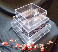 Clear acrylic/ lucite / plexiglass cake display stands boxes with removable lid