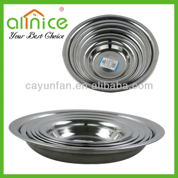 Wide-edge stainless steel food dishes / 16-28cm soup plate